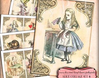 ALICE in WONDERLAND prop decoration party printable digital collage sheet for your wonderland party