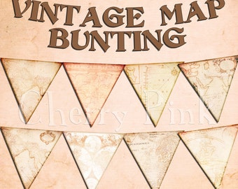 Party bunting VINTAGE MAP BUNTING digital printable bunting download for scrapbooking, party printables and graphic design.