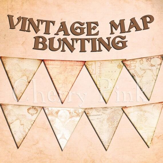 Party bunting VINTAGE MAP BUNTING digital printable bunting download ...