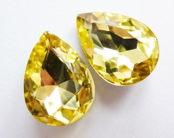 2 glass jewels, 18x13mm, citrin, pear