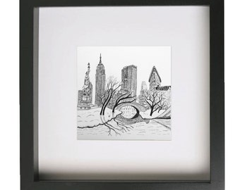 New York Drawing - Fits IKEA frame RIBBA