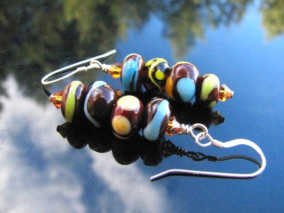 Lampwork Earrings Handmade Glass Beads Handcrafted Artisan Jewelry SRA SRAJD
