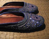VintageTurkish Women slippers or shoes - sky blue and violet color - glass beads and tinsel