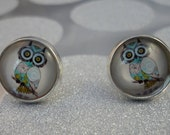 SPRING SALE Cute Owl 12mm Round Studs on Sterling Silver Plated Posts