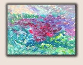 """Abstract Painting, Acrylic Painting, Acrylic on Canvas, Blue, Pink, Green, Purple colors, size 16"""" x 20"""" x 3/4"""", Modern Art."""