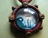 Steampunk Porthole Necklace Original Watercolor
