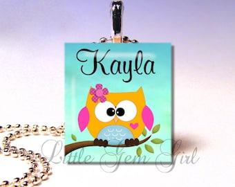 Owl Necklace Pendant Owl Custom Name Orange Pink or Purple Scrabble Necklace Pendant - Owl Jewelry Owl Charm