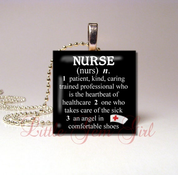 "Nurse Necklace Pendant Dictionary Definition - Medical RN Charm 1""x1"" Wood Tile - Nursing Graduation Gift - Nurse Charm Nurse Key Chain"