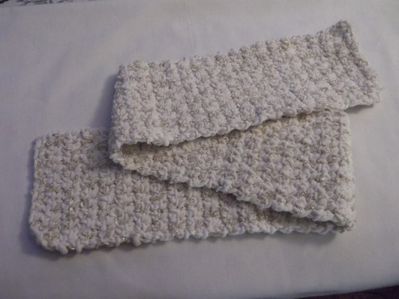 Womans Scarf Crocheted With White Yarn With Glitter Interwoven   Spruce Up Your Wardrobe The Easy Way