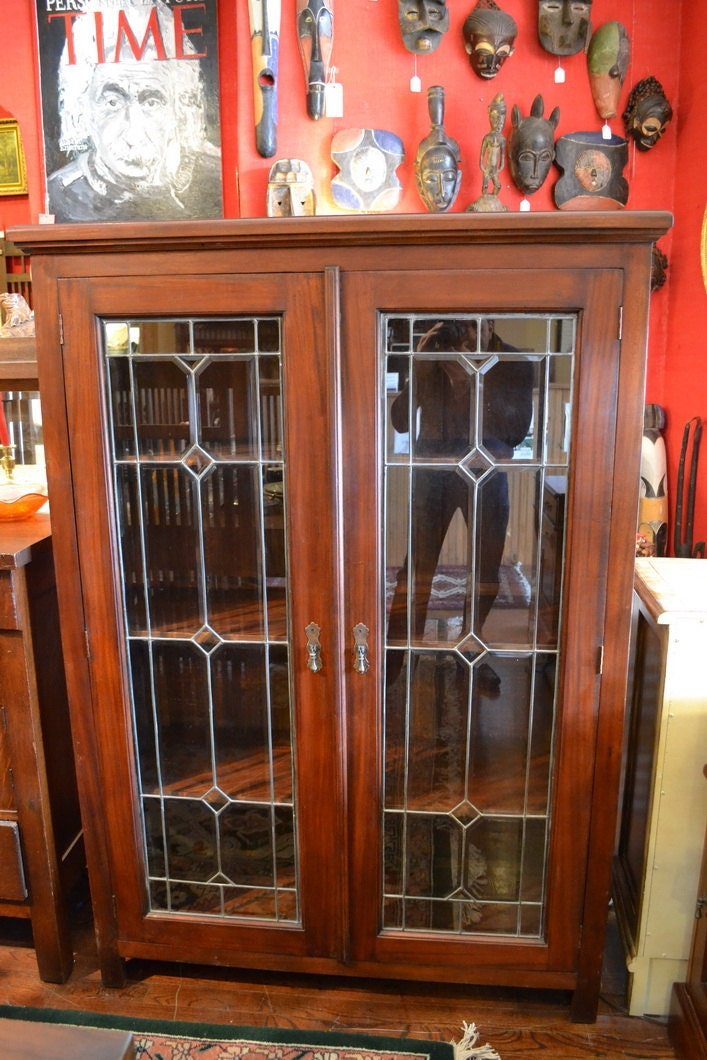 mahogany 2 door bookcase china cabinet with by oakparkantiques. Black Bedroom Furniture Sets. Home Design Ideas