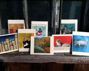 Set of six blank greeting cards