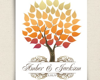 Wedding Guest Book Alternative - The Seaswik - A Peachwik Interactive Art Print - 50 guests -  Fall Wedding Tree