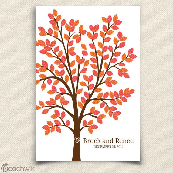 Guest Book Tree - The Dreamwik - A Peachwik Interactive Art Print - 150 guest sign in - Chevron Pattern Wedding Dream Tree