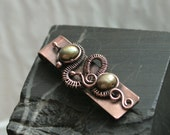 Dragon Snail - copper wire woven pendant with green freshwater pearl beads
