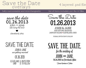 Save the Date overlays INSTANT DOWNLOAD