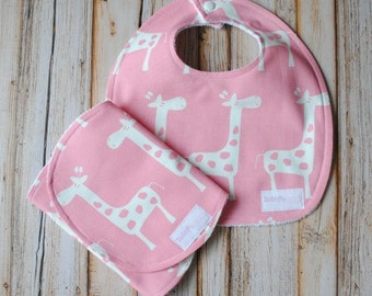 Baby Girl Bib and Burp Cloth Combo- Pink and White Giraffes- Baby Gift- Shower present