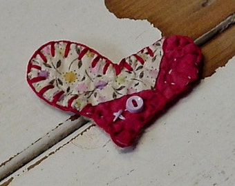 Quilted Heart Brooch Ornament Original Primitive Old Patchwork Cutter Quilt Valentine XO Prim Lapel Pin itsyourcountry