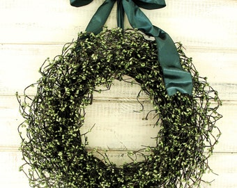 Christmas Wreath-Winter Wreath-Rustic Door Wreaths-SAGE GREEN Wreath-Wedding Gift-Woodland Wedding Decor-Farmhouse Home Decor-Scented Wreath