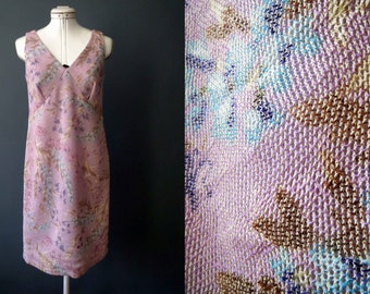 Vintage Handmade Lavender Floral Sheer Tapestry Print Mesh Sundress Small Medium
