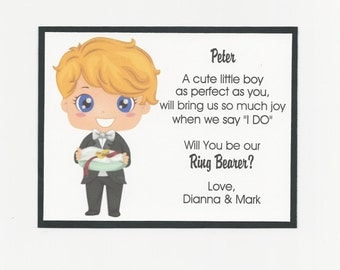 BLUE eyes - Will you be my Ring Bearer Flat card - Personalized custom