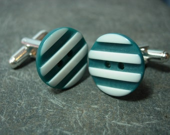 striped button silver plated cufflinks