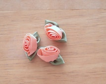 OFFRAY Satin Ribbon Roses 6 Peach Color Roses Per Package.