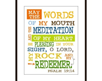 Scripture Wall Art May the Words of my Mouth Psalm 19:14, Kids scripture art, inspirational art
