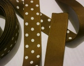 2 yards of 7/8 inch brown with white polka dots grosgrain ribbon