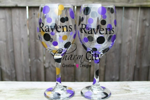 Items similar to baltimore ravens wine glasses super bowl for Super u champagne