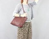 SALE Vintage Handbag / Vegan Leather / Basket Weave Purse