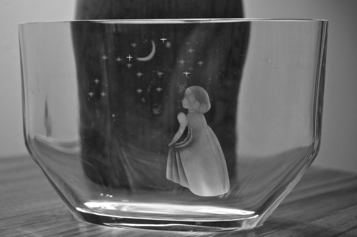 C 1940 Orrefors Crystal Vase Wish To The Moon By