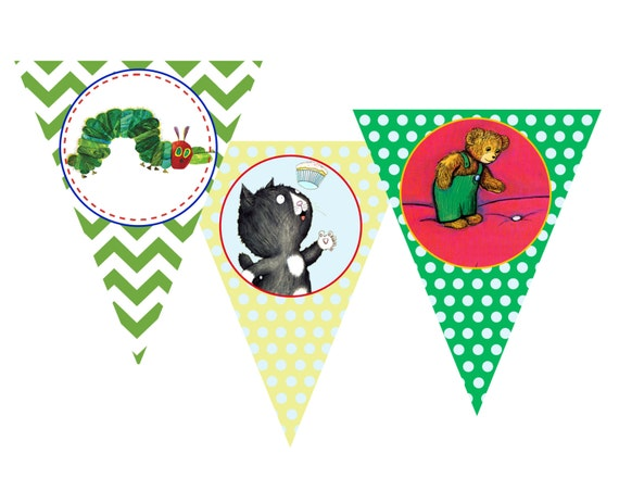 Children 39 s book themed pennant banner collection by for Childrens shower head