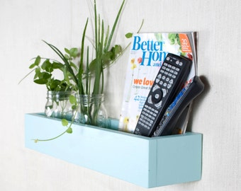 Box Shelf Wall Organizer - Aqua Ocean Blue - Vertical Garden, Toy Storage, Book Shelf, Bathroom Storage - Custom Options - 12 INCH