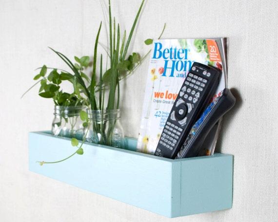 Box Shelf Wall Organizer - Aqua Ocean Blue - Vertical Garden, Toy Storage, Book Shelf, Bathroom Storage - Custom Options - 22 INCH