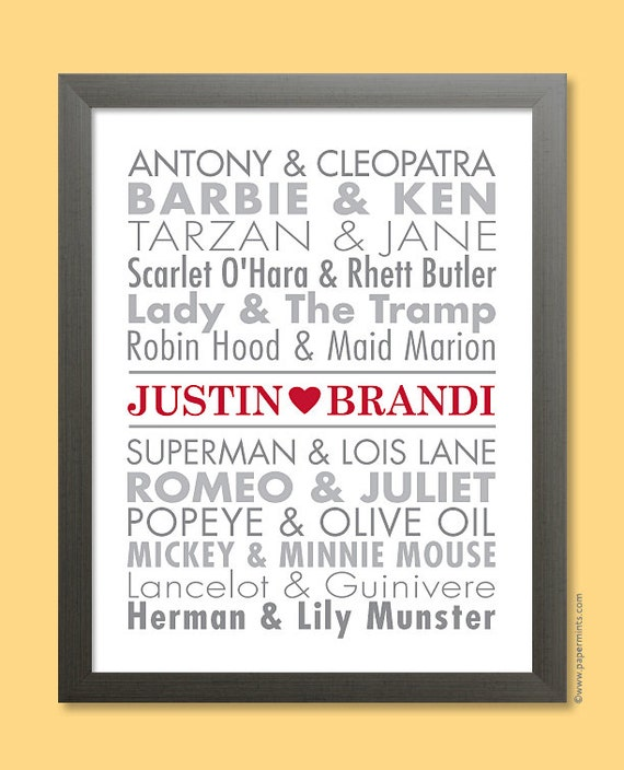 Famous Couples Print Personalized Unique Wedding Gift Anniversary Bridal Shower, Typography