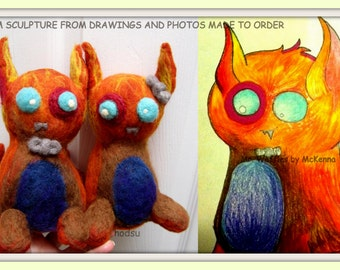 Custom sculptures from kids drawings and photos, needle felted portrait custom doll personalized collectible gift for parents MADE to ORDER