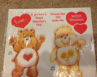 1983 Care Bears IRON ON Valentines unopened vintage care