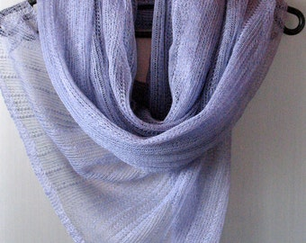 Linen Scarf Linen Clothing Scarves for Women Knit Scarf Infinity Scarf Purple Violet Striped Plaid Scarf Scarf Women Shawl Womens Scarves