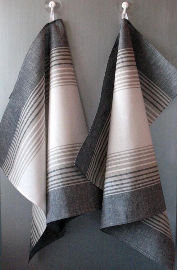 Linen Cotton Dish Towels striped - Tea Towels set of 4
