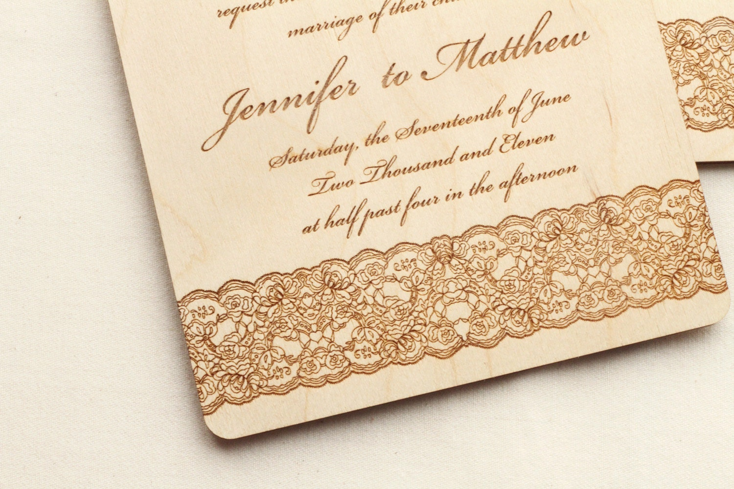 zoom - Wooden Wedding Invitations