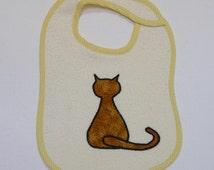 Cat Toddler Bib - Sitting Cat Applique Cream Terrycloth Toddler Bib