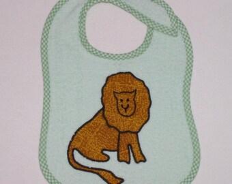 Lion Toddler Bib - Lion Applique Green Terrycloth Toddler Bib