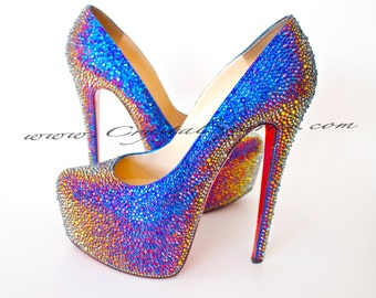 Authentic Christian Louboutin Daffodile Daffodil Shoes made with Swarovski Crystal SZ 36