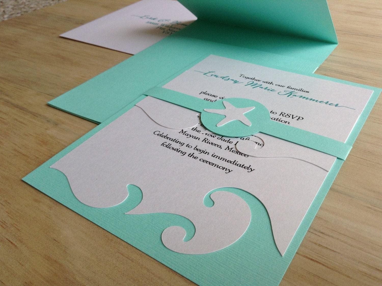 Beach Wedding Invitation Wording: Beach Wedding Invitation Destination Wedding Invitation