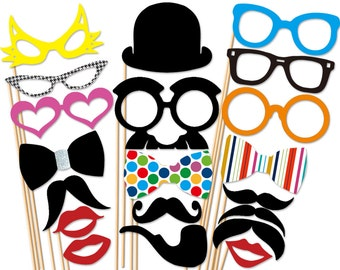 Best Party Photo Booth Props Set  - 20 Piece Mustache  On a Stick Wedding Party Props - Photobooth Prop
