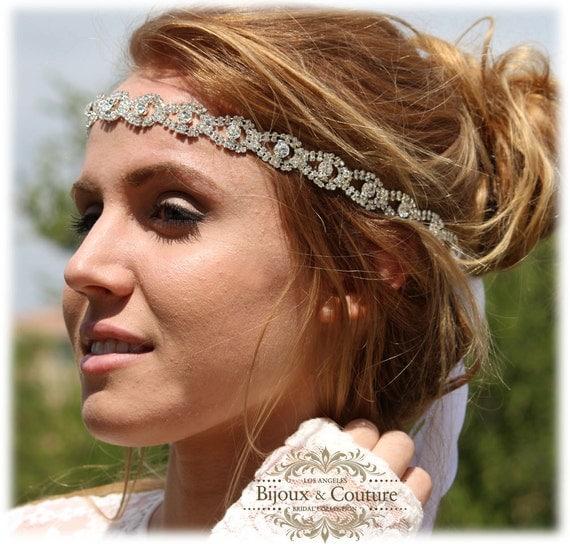 Bridal hair accessory, bridal headband, rhinestone headband, Crystal headband, bridal Sash, wedding hair accessory