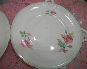 SALE Two Lovely Rose-Decorated Plates