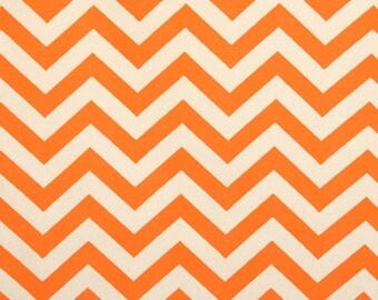 Pair of Chevron Zig Zag Orange Mandarin and Natural Curtains Drapery Panels 50 x 63 84 96 108 120