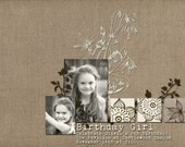 Custom Digital Photo Card - Birthday Invitation - Natural Linen
