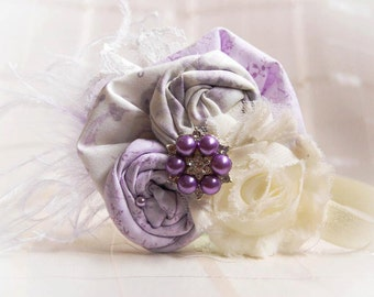 Ivory and Lavender Flower Headband - Photo Prop - Baby Headband - Flower Girl Headband